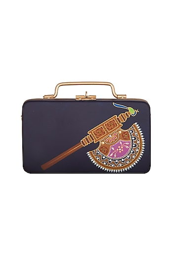 Dark Blue & Gold Hand Painted Trunk Sling Clutch by Crazy Palette