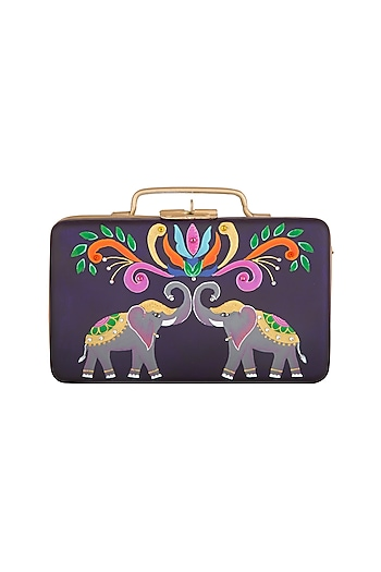Purple & Gold Hand Painted Trunk Sling Clutch by Crazy Palette