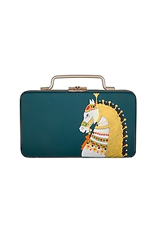 Turquoise & Gold Hand Painted Trunk Sling Clutch by Crazy Palette