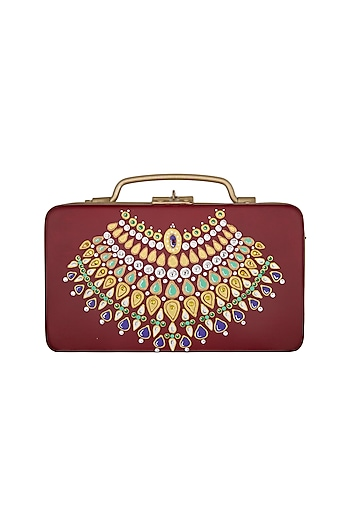 Maroon & Gold Hand Painted Trunk Sling Clutch by Crazy Palette