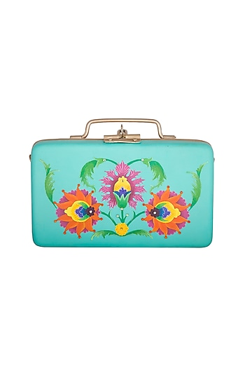 Aqua Blue & Gold Hand Painted Trunk Sling Clutch by Crazy Palette