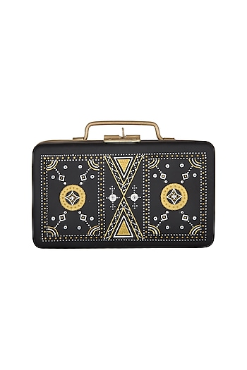 Black & Gold Hand Painted Mini Trunk Sling Clutch by Crazy Palette