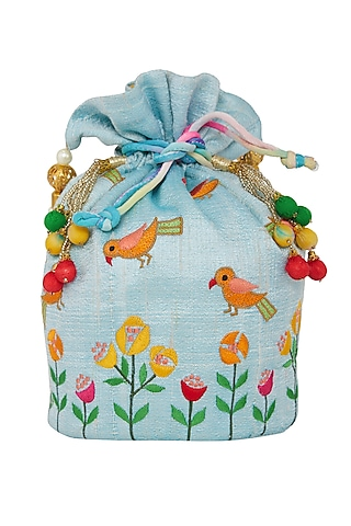 Sky Blue Embroidered Potli Bag by Crazy Palette