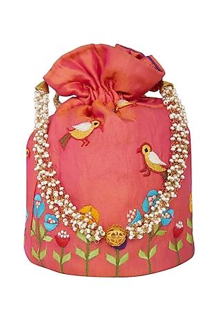 Orange Floral Embroidered Potli Bag by Crazy Palette