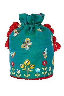 Emerald Green Embroidered Potli Bag by Crazy Palette
