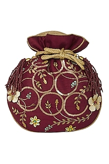 Maroon Hand Embroidered Bag by Crazy Palette