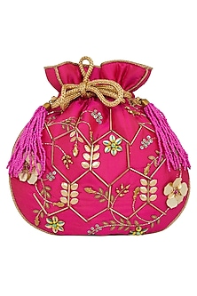 Fuchsia Hand Embroidered Bag by Crazy Palette
