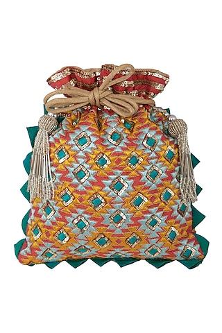 Orange Zardosi Embroidered Bag by Crazy Palette