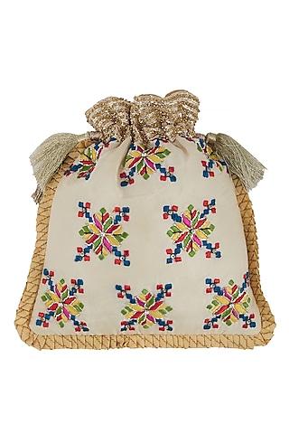 White Zardosi Embroidered Bag by Crazy Palette