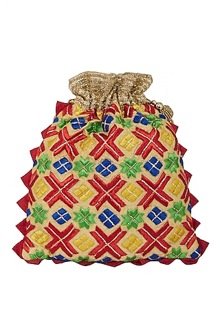 Gold Zardosi Embroidered Bag by Crazy Palette