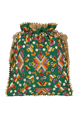 Emerald Green Embroidered Bag by Crazy Palette