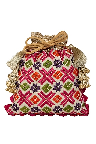 White Phulkari Embroidered Bag by Crazy Palette