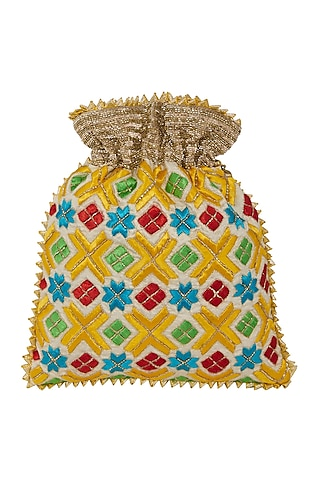 White Embroidered Potli Bag by Crazy Palette