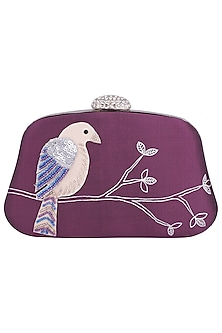Mauve Hand Painted Bird Clutch by Crazy Palette