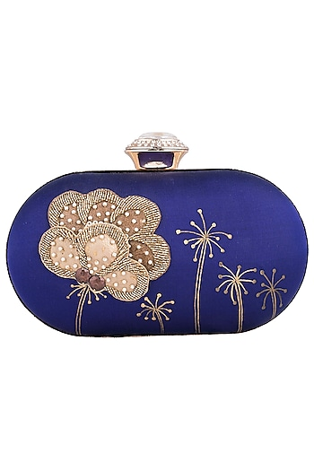 Purple Hand Painted Flower Clutch by Crazy Palette