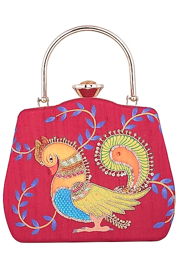 Maroon Hand Painted Kalamkari Clutch by Crazy Palette