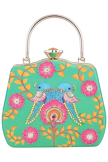 Green Hand Painted Parrots Clutch by Crazy Palette