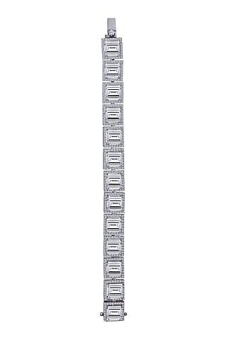 White Finish Swarovski Zirconia Bracelet In Sterling Silver by Diosa Paris