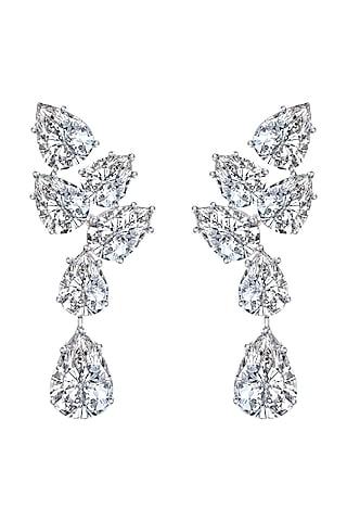 White Finish Swarovski Zirconia Dangler Earrings In Sterling Silver by Diosa Paris