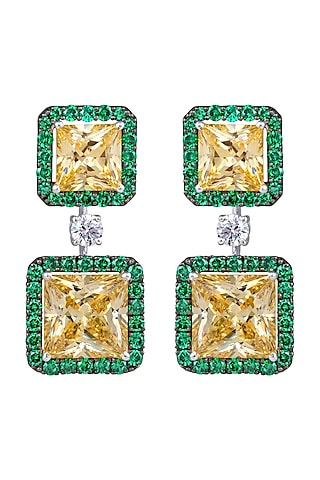 White Finish Swarovski Chandelier Earrings In Sterling Silver by Diosa Paris