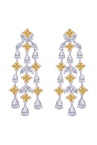 White Finish Chandelier Earrings In Sterling Silver by Diosa Paris