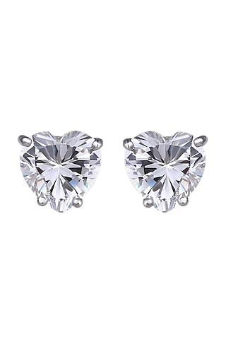White Finish Swarovski Zirconia Stud Earrings In Sterling Silver by Diosa Paris