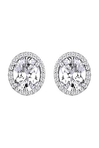 White Finish Swarovski Zirconia Earrings In Sterling Silver by Diosa Paris