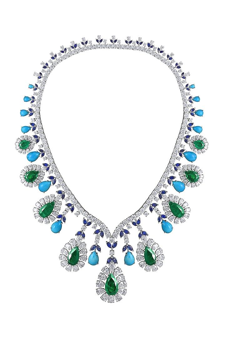 White Finish Swarovski Zirconia Bridal Necklace In Sterling Silver by Diosa Paris