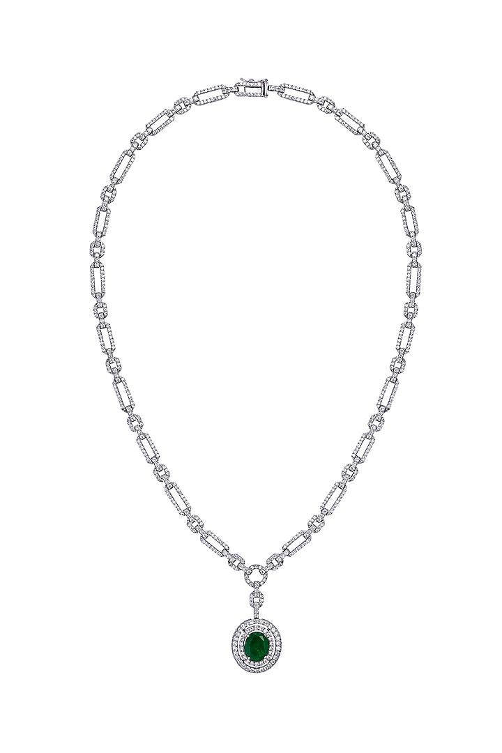 White Finish Swarovski Pendant Necklace In Sterling Silver by Diosa Paris