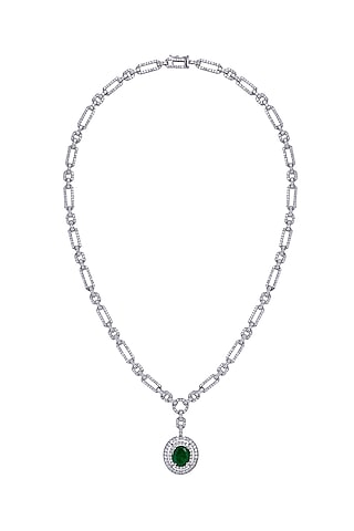 White Finish Swarovski Pendant Necklace In Sterling Silver by Diosa Paris