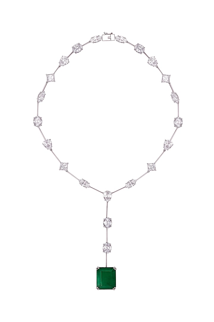 White Finish Swarovski Zirconia Pendant Necklace In Sterling Silver by Diosa Paris