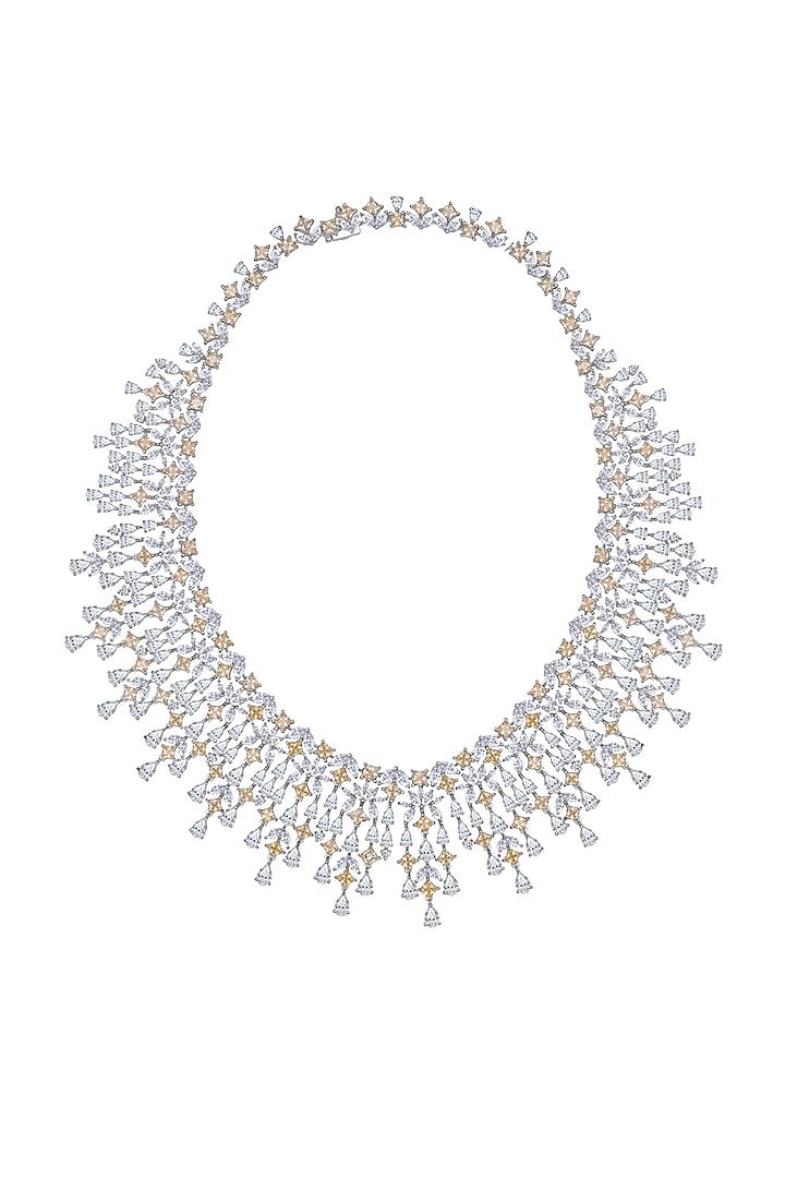 White Finish Swarovski Zirconia Necklace In Sterling Silver In Sterling Silver by Diosa Paris