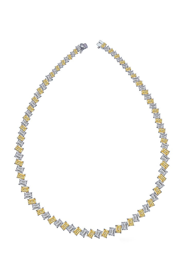 White Finish Solitaire Necklace In Sterling Silver by Diosa Paris