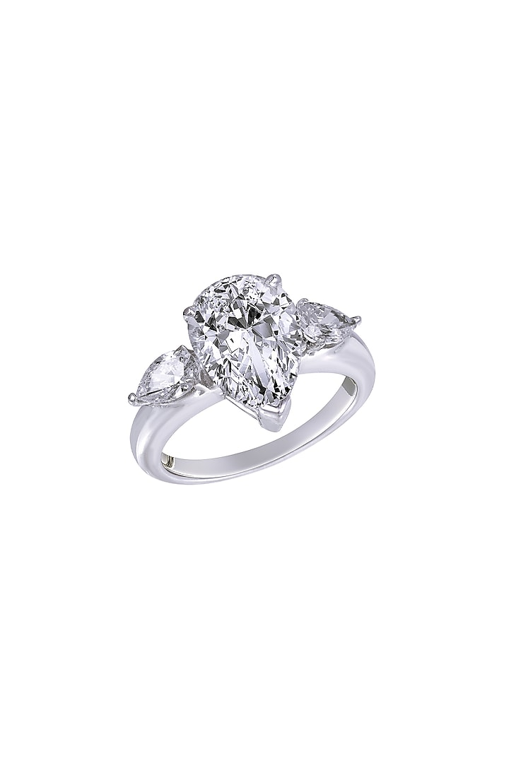 White Finish Swarovski Ring In Sterling Silver by Diosa Paris