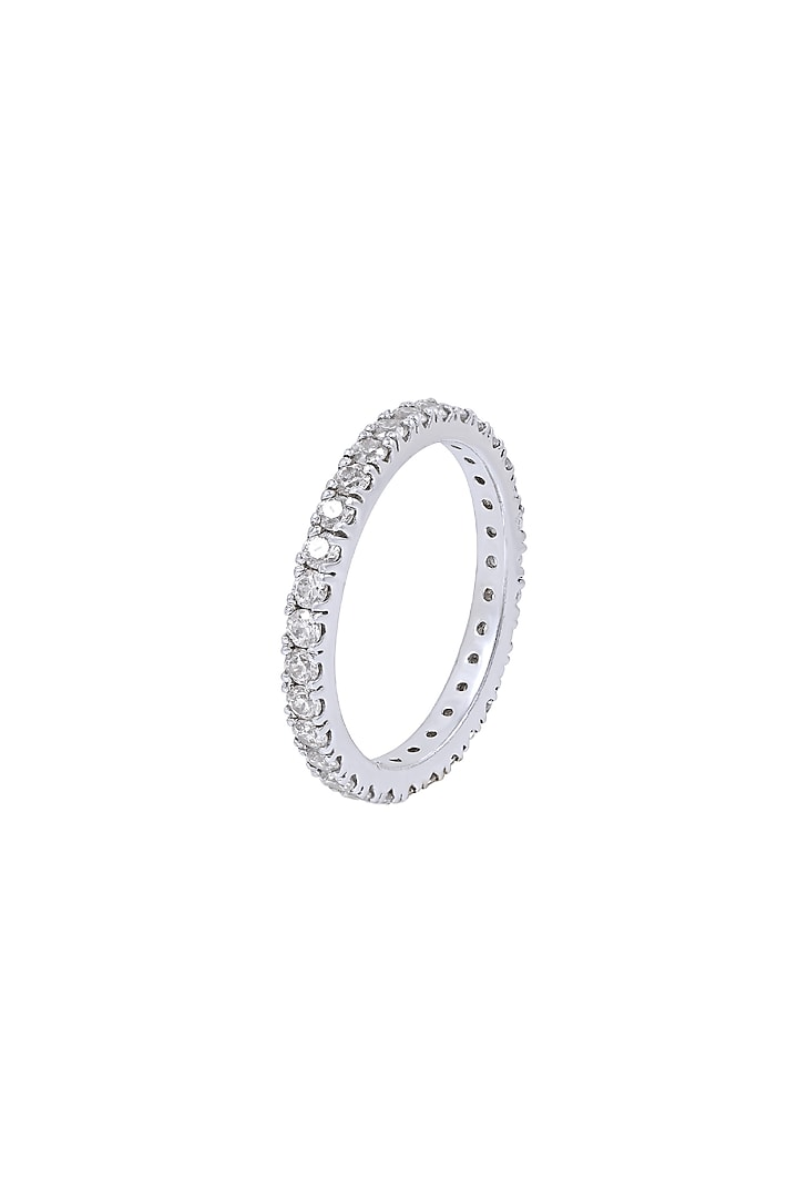 White Finish Swarovski Band Ring In Sterling Silver by Diosa Paris