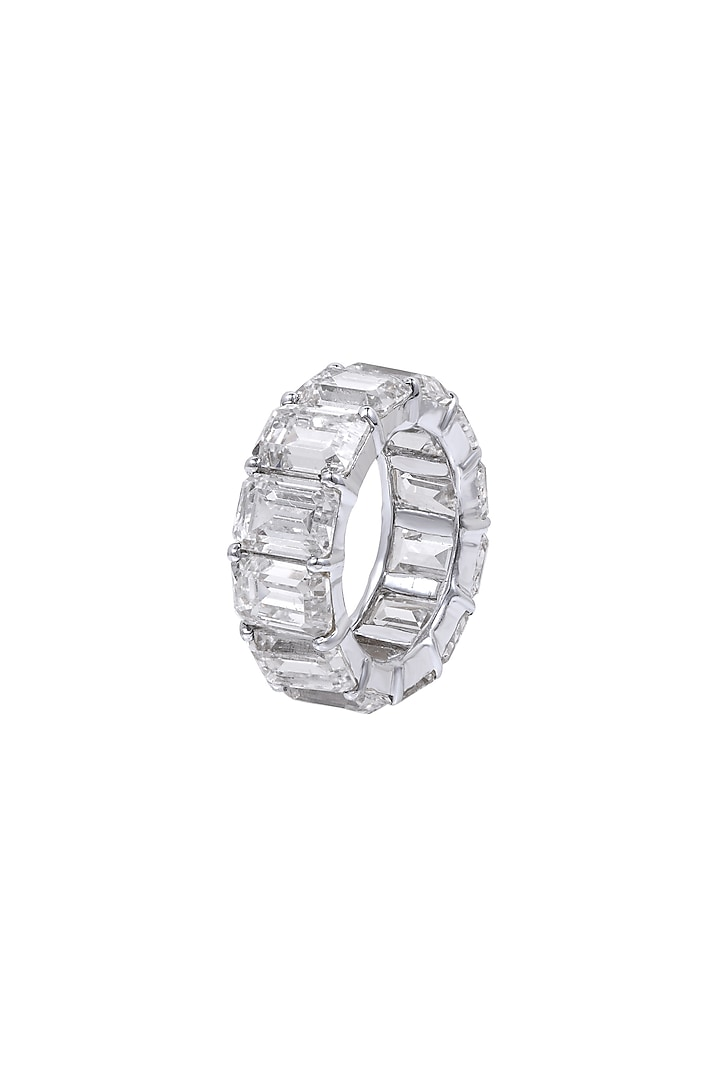 White Finish Swarovski Zirconia Band Ring In Sterling Silver by Diosa Paris