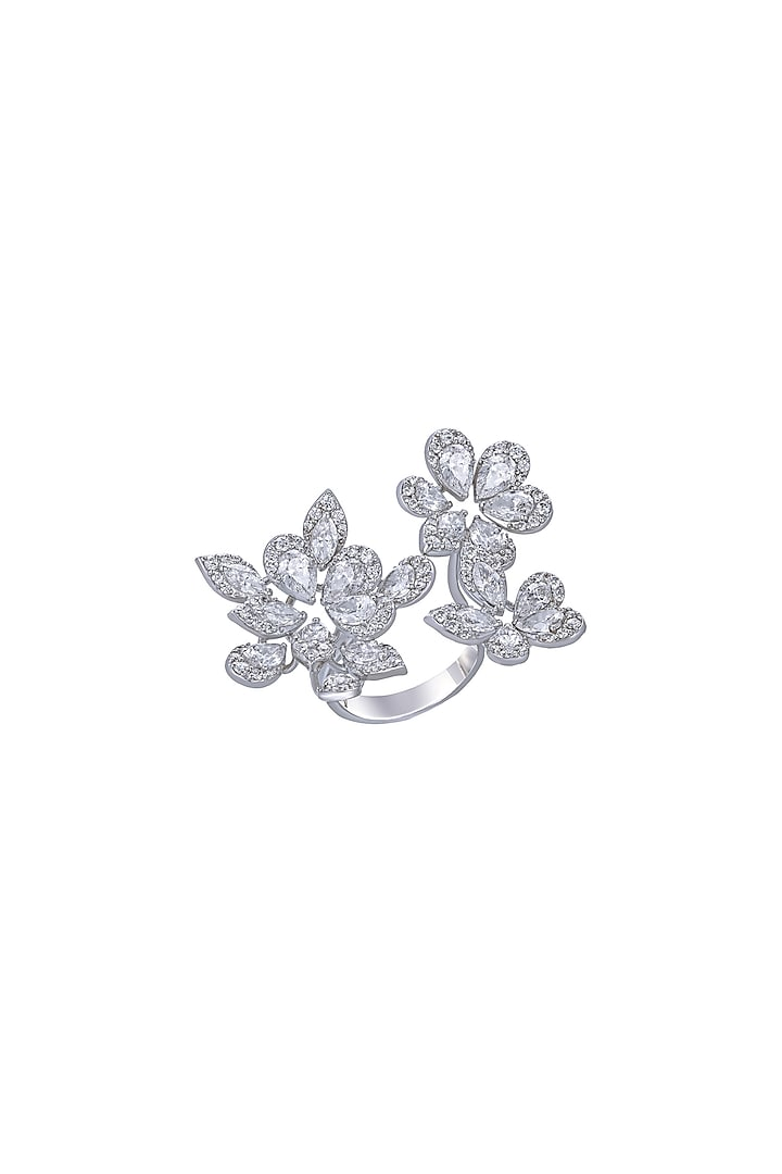White Finish Synthetic Stones Cocktail Ring In Sterling Silver by Diosa Paris
