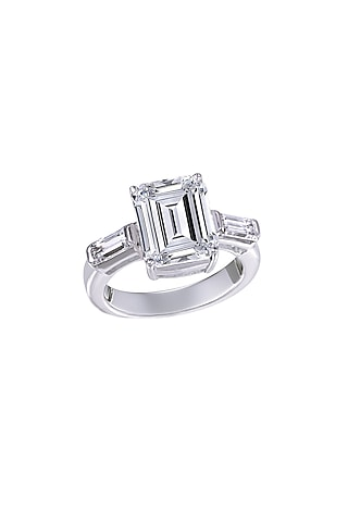 White Finish Swarovski Classic Ring In Sterling Silver by Diosa Paris