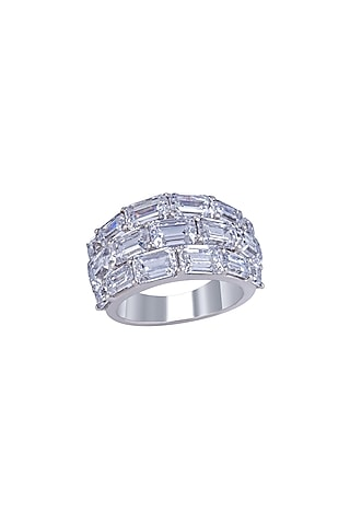 White Finish Ring In Sterling Silver by Diosa Paris