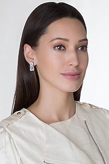 White Finish Princess Cut Swarovski Zirconia Earrings by Diosa Paris