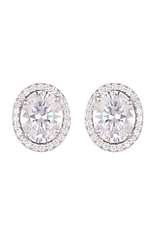 White Finish Oval Swarovski Stud Earrings by Diosa Paris