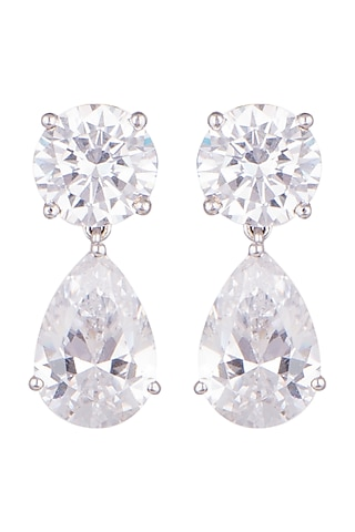 White Finish Round & Pear Cut Swarovski Earrings by Diosa Paris