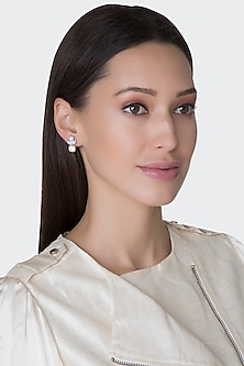 White Finish Yellow Swarovski Earrings by Diosa Paris
