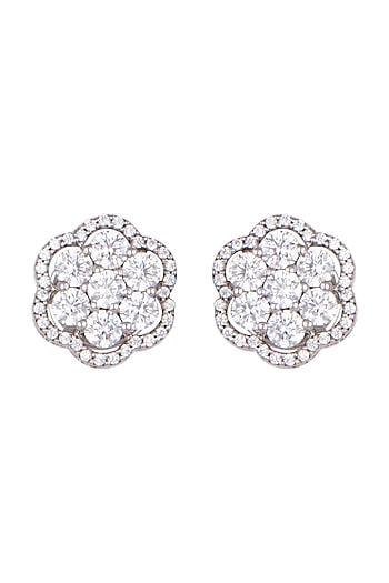 White Finish Stud Earrings by Diosa Paris