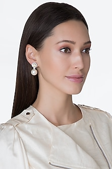 White Finish Round Swarovski & Pearl Earrings by Diosa Paris