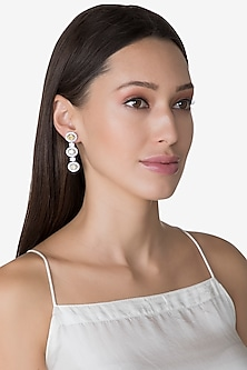 White Finish White & Yellow Swarovski Earrings by Diosa Paris