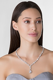 White Finish Swarovski Necklace by Diosa Paris