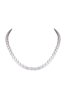 White Finish Swarovski Zirconia Necklace by Diosa Paris