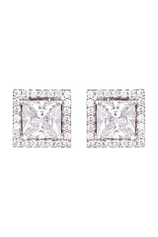 White Finish Princess & Round Cut Zirconia Earrings by Diosa Paris