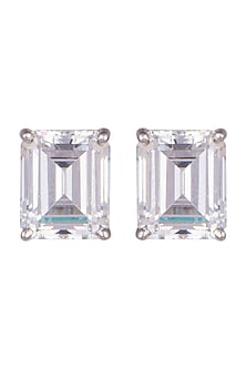 White Finish Swarovski Zirconia Earrings by Diosa Paris